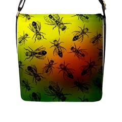 Insect Pattern Flap Messenger Bag (l)  by Simbadda
