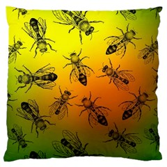 Insect Pattern Large Flano Cushion Case (two Sides) by Simbadda