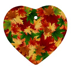 Autumn Leaves Ornament (heart) by Simbadda
