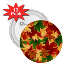 Autumn Leaves 2 25  Buttons (10 Pack)  by Simbadda