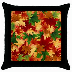 Autumn Leaves Throw Pillow Case (black) by Simbadda