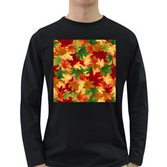 Autumn Leaves Long Sleeve Dark T Shirts by Simbadda