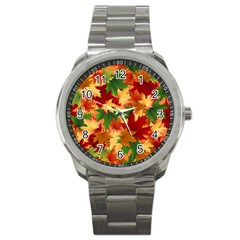Autumn Leaves Sport Metal Watch by Simbadda