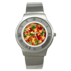 Autumn Leaves Stainless Steel Watch by Simbadda