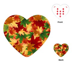 Autumn Leaves Playing Cards (heart)  by Simbadda