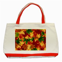 Autumn Leaves Classic Tote Bag (red) by Simbadda