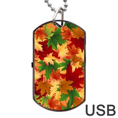 Autumn Leaves Dog Tag Usb Flash (two Sides) by Simbadda