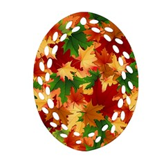 Autumn Leaves Oval Filigree Ornament (two Sides) by Simbadda