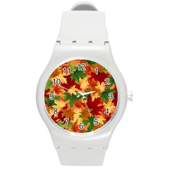 Autumn Leaves Round Plastic Sport Watch (m) by Simbadda