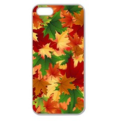 Autumn Leaves Apple Seamless Iphone 5 Case (clear) by Simbadda