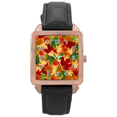 Autumn Leaves Rose Gold Leather Watch  by Simbadda