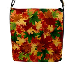 Autumn Leaves Flap Messenger Bag (l)  by Simbadda