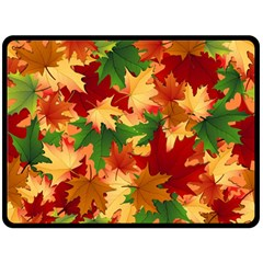 Autumn Leaves Double Sided Fleece Blanket (large)  by Simbadda