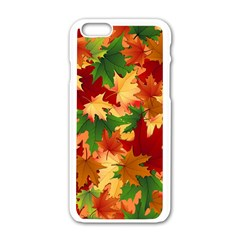 Autumn Leaves Apple Iphone 6/6s White Enamel Case by Simbadda