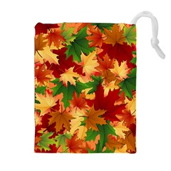 Autumn Leaves Drawstring Pouches (extra Large) by Simbadda