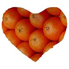Orange Fruit Large 19  Premium Flano Heart Shape Cushions by Simbadda