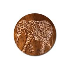 Elephant Aztec Wood Tekture Magnet 3  (round) by Simbadda