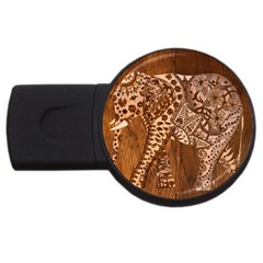 Elephant Aztec Wood Tekture Usb Flash Drive Round (4 Gb) by Simbadda