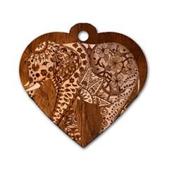 Elephant Aztec Wood Tekture Dog Tag Heart (two Sides) by Simbadda