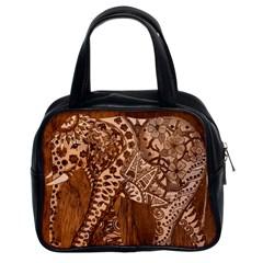 Elephant Aztec Wood Tekture Classic Handbags (2 Sides) by Simbadda