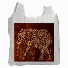 Elephant Aztec Wood Tekture Recycle Bag (one Side) by Simbadda