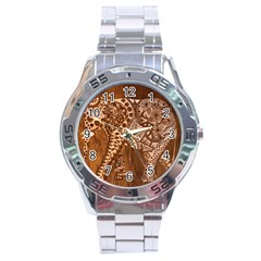 Elephant Aztec Wood Tekture Stainless Steel Analogue Watch by Simbadda