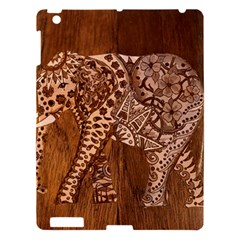 Elephant Aztec Wood Tekture Apple Ipad 3/4 Hardshell Case by Simbadda