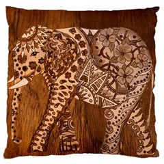 Elephant Aztec Wood Tekture Large Cushion Case (two Sides) by Simbadda