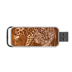 Elephant Aztec Wood Tekture Portable Usb Flash (one Side) by Simbadda
