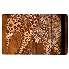 Elephant Aztec Wood Tekture Apple Ipad 3/4 Flip Case by Simbadda