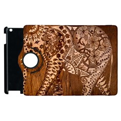 Elephant Aztec Wood Tekture Apple Ipad 2 Flip 360 Case by Simbadda