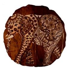 Elephant Aztec Wood Tekture Large 18  Premium Round Cushions by Simbadda