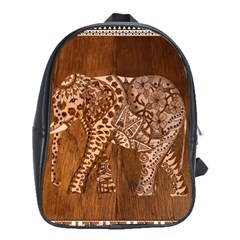 Elephant Aztec Wood Tekture School Bags (xl)  by Simbadda