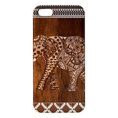Elephant Aztec Wood Tekture Apple Iphone 5 Premium Hardshell Case by Simbadda