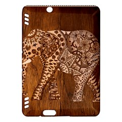 Elephant Aztec Wood Tekture Kindle Fire Hdx Hardshell Case by Simbadda