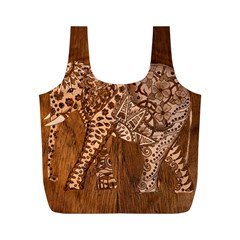 Elephant Aztec Wood Tekture Full Print Recycle Bags (m)  by Simbadda