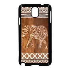 Elephant Aztec Wood Tekture Samsung Galaxy Note 3 Neo Hardshell Case (black)