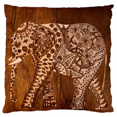 Elephant Aztec Wood Tekture Large Flano Cushion Case (one Side) by Simbadda