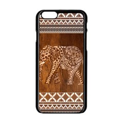 Elephant Aztec Wood Tekture Apple iPhone 6/6S Black Enamel Case
