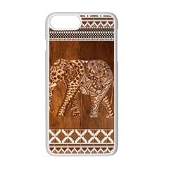 Elephant Aztec Wood Tekture Apple Iphone 7 Plus White Seamless Case by Simbadda