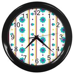 Beans Flower Floral Blue Wall Clocks (black) by Alisyart