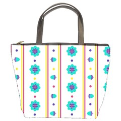 Beans Flower Floral Blue Bucket Bags by Alisyart