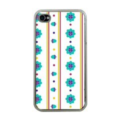 Beans Flower Floral Blue Apple Iphone 4 Case (clear) by Alisyart