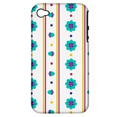 Beans Flower Floral Blue Apple Iphone 4/4s Hardshell Case (pc+silicone) by Alisyart