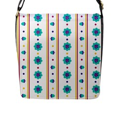 Beans Flower Floral Blue Flap Messenger Bag (l)  by Alisyart