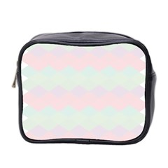 Argyle Triangle Plaid Blue Pink Red Blue Orange Mini Toiletries Bag 2 Side by Alisyart