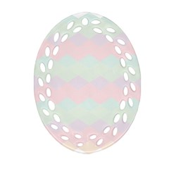 Argyle Triangle Plaid Blue Pink Red Blue Orange Ornament (oval Filigree) by Alisyart