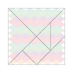 Argyle Triangle Plaid Blue Pink Red Blue Orange Acrylic Tangram Puzzle (6  X 6 ) by Alisyart