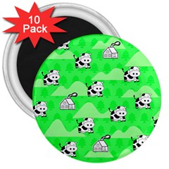 Animals Cow Home Sweet Tree Green 3  Magnets (10 Pack)  by Alisyart