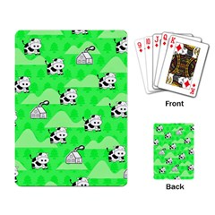 Animals Cow Home Sweet Tree Green Playing Card by Alisyart
